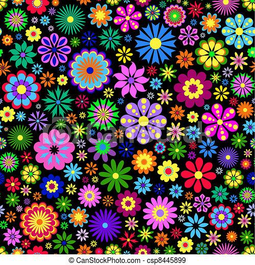 fundo, flor, pretas, coloridos - csp8445899