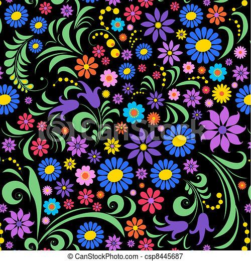 fundo, flor, pretas, coloridos - csp8445687