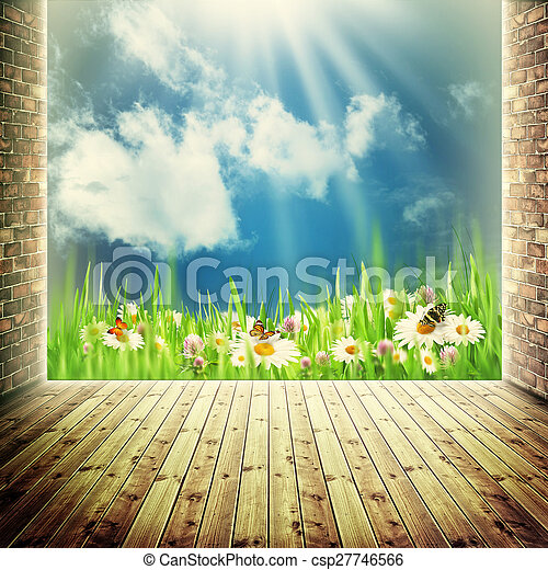 fundos, abstratos, natural, janela, liberdade - csp27746566