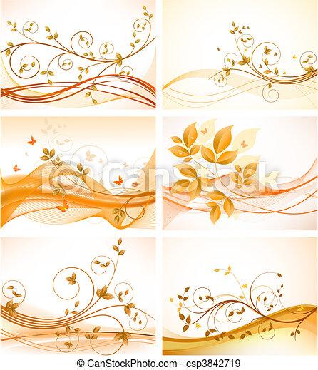 fundos, jogo, floral, abstratos - csp3842719
