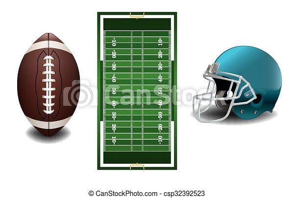 futebol, americano, capim, textured, campo - csp32392523