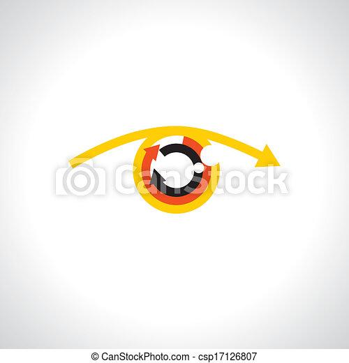 futurista, coloridos, abstratos, human, -, setas, vector., olho, conceito - csp17126807