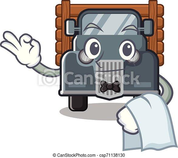 garçom, caminhão, forma, antigas, mascote - csp71138130