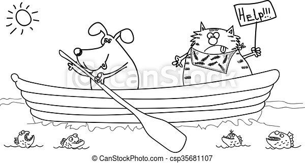 gato, bote, desenho, black-white, cão - csp35681107