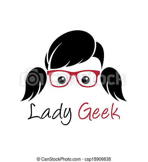 geek, logotipo, senhora - csp18906638