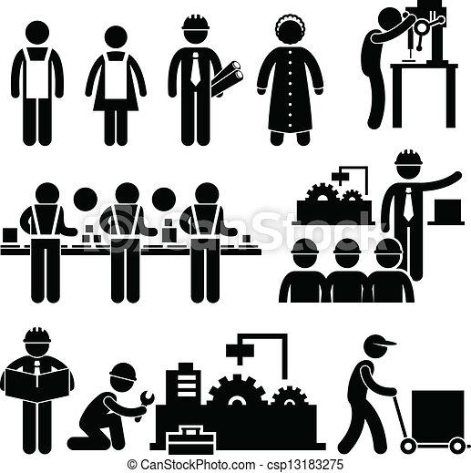 gerente, trabalhador, fábrica, trabalhando - csp13183275