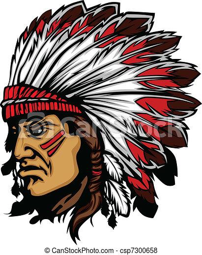 gra, chefe, cabeça, indianas, vetorial, mascote - csp7300658