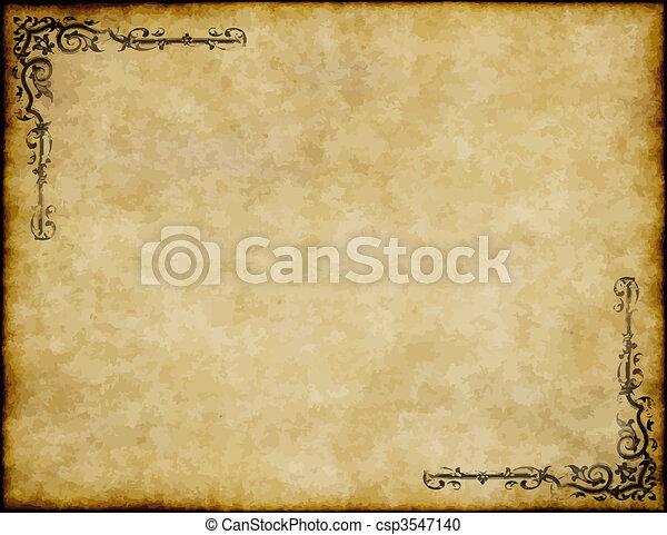 grande, antigas, textura, papel, desenho, fundo, ornate, pergaminho - csp3547140