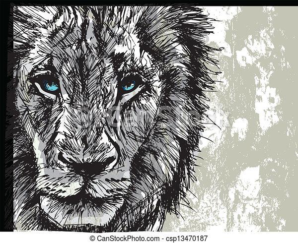 grande, esboço, leão masculino, africano - csp13470187