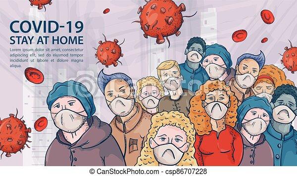 grande, muito, contorno, ilustração, máscaras, coronavirus, aviso, covind, inscrição, torcida, moléculas, 2019-ncov, pessoas, vírus, vermelho, médico - csp86707228