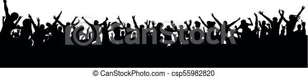 grande, ventiladores, silueta, torcida, pessoas - csp55982820