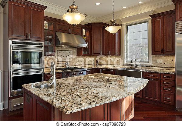 granito, cozinha, ilha - csp7098723
