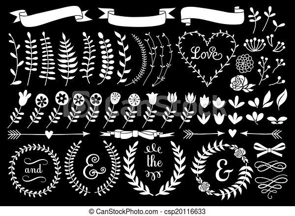 grinalda, floral, vetorial, laurel, branca - csp20116633