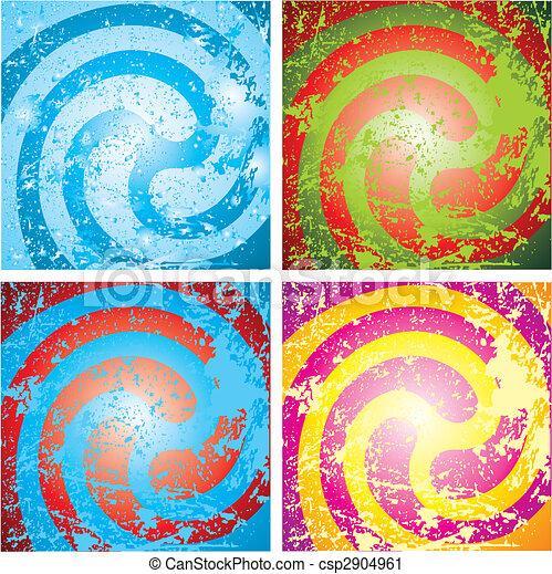 grunge, abstratos, fundo, quatro, variegado - csp2904961