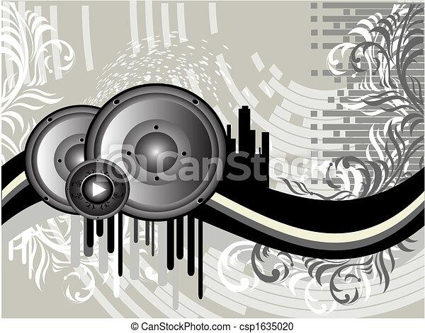 grunge, música, fundo - csp1635020