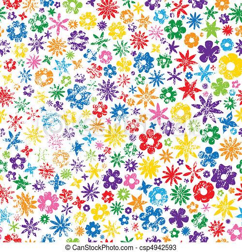 grungy, flor, coloridos, fundo - csp4942593