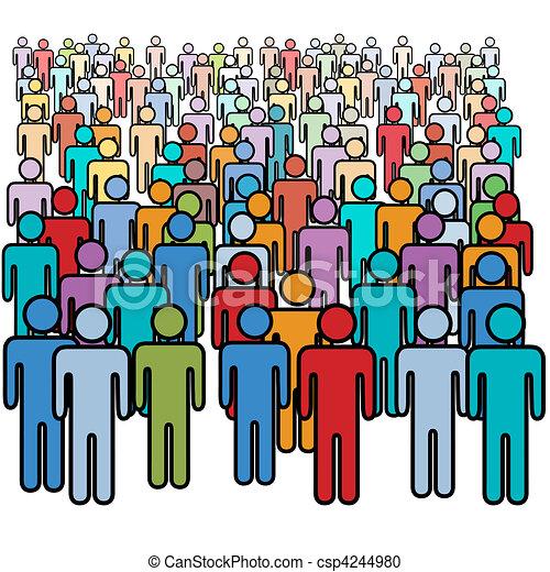 grupo, torcida, pessoas, grande, cores, social, muitos - csp4244980