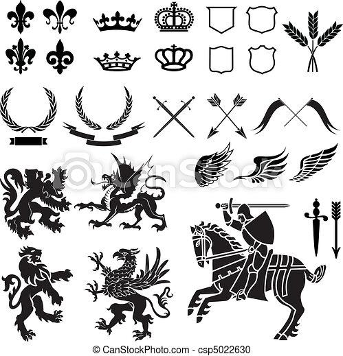 heráldica, ornamento, jogo - csp5022630