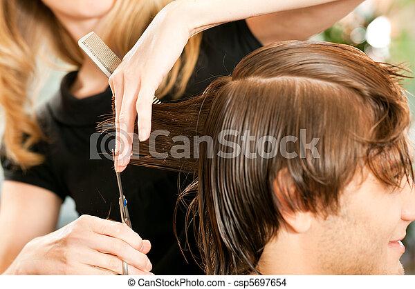 homem, cabeleireiras - csp5697654