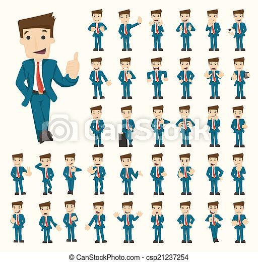homem negócios, poses, jogo, caráteres - csp21237254