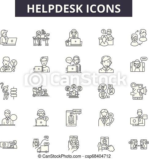 illustration:, ajuda, helpdesk, jogo, sinais, esboço, conceito, comunicação, telefone, apoio, vector., linha, serviço, cliente, chamada, ícones, helpdesk - csp68404712