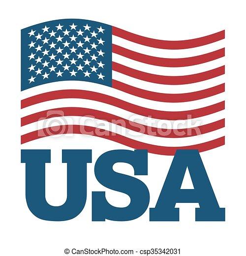 illustration., símbolo, experiência., sinal, américa, nacional, desenvolvendo, branca, patriótico, país, estados unidos, estado, usa., bandeira, america. - csp35342031