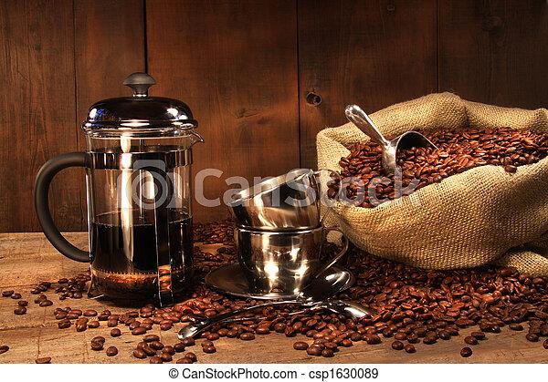 imprensa, feijões café, saco, francês - csp1630089