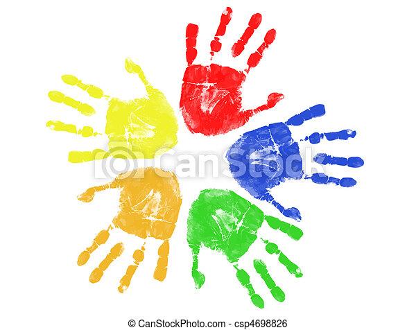 impressões, coloridos, mão - csp4698826