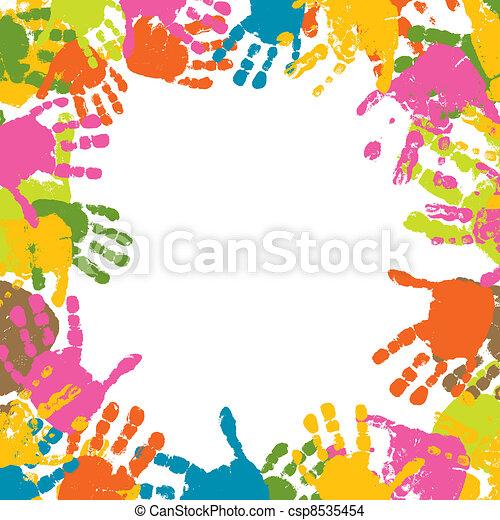 impressões, vetorial, abstratos, fundo, mãos, criança - csp8535454
