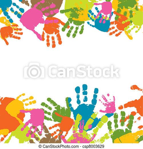 impressões, vetorial, criança, ilustração, mãos - csp8003629