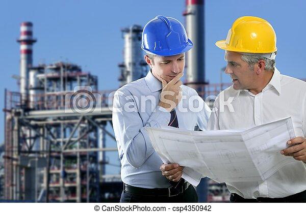 indústria, dois, arquiteta, equipe, perícia, engenheiro - csp4350942