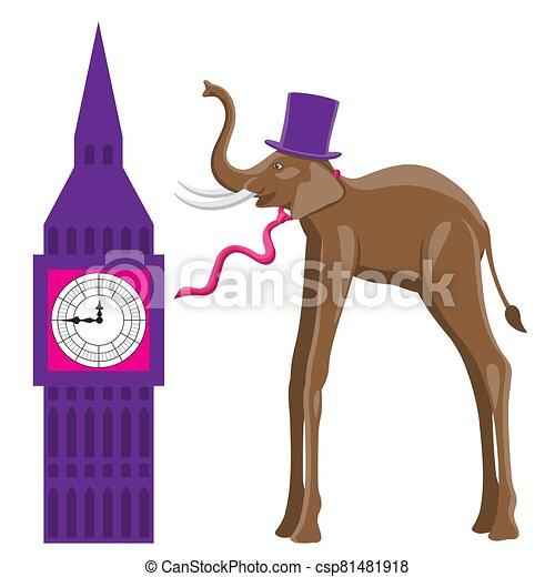 isolado, vetorial, imagem, elefante, experiência., relógio, chapéu, laço, branca, predios - csp81481918