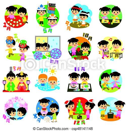japão, sazonal, crianças, calendário, eventos - csp48141148
