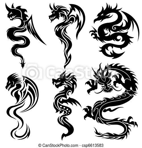 jogo, dragões, chinês, tribal - csp6613583