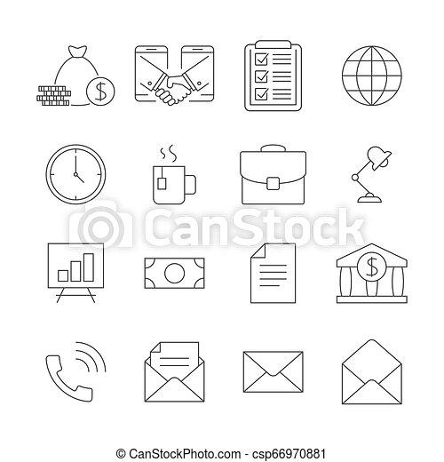 jogo, esboço, ícones negócio - csp66970881