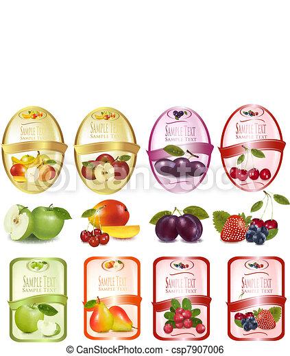 jogo, fruta, etiquetas - csp7907006