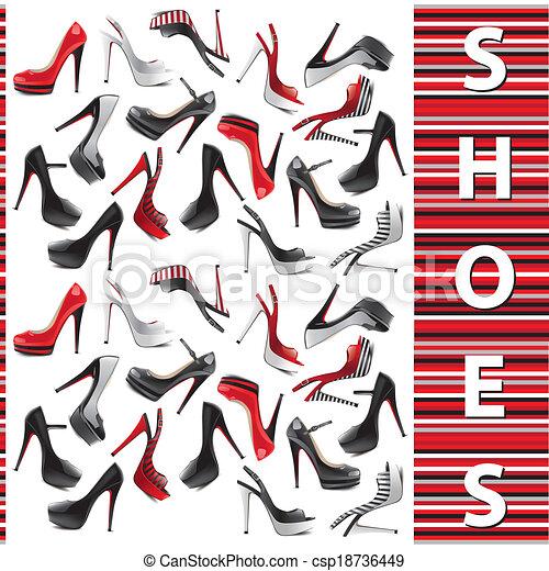 jogo, sapatos, femininas - csp18736449