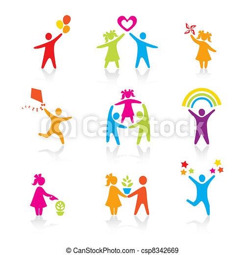 jogo, silueta, pessoas, criança, homem, ícones, -, símbolo., menino, mulher, menina, pais, pai, vector., family., mãe, criança - csp8342669