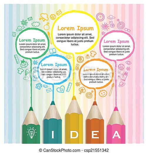 lápis, coloridos, criativo, infographic, modelo, forre desenho - csp21551342