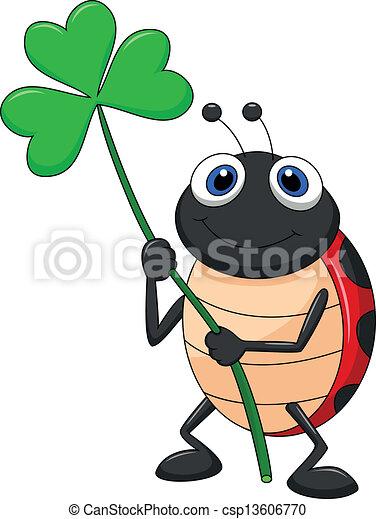 ladybug, folha, caricatura, trevo - csp13606770