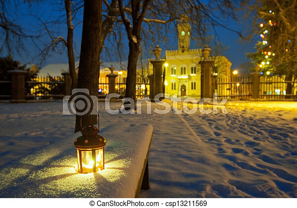 lanterna, parque, noturna - csp13211569