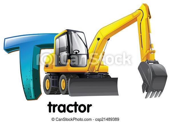 letra, t, trator - csp21489389