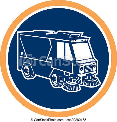 limpador, círculo, rua, caminhão, retro - csp20280158