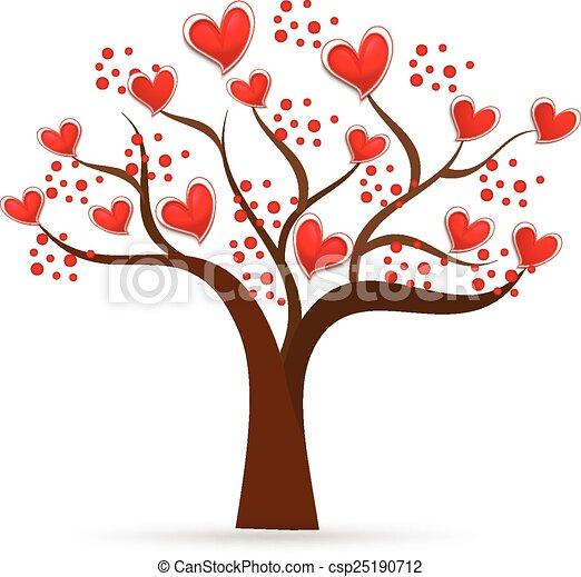 logotipo, árvore, valentines, ame corações - csp25190712
