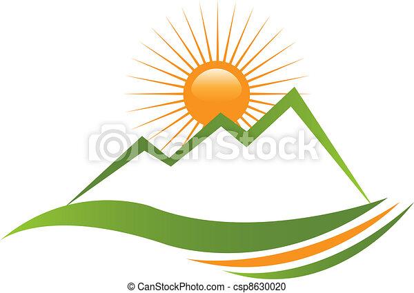 logotipo, ensolarado, montanha - csp8630020