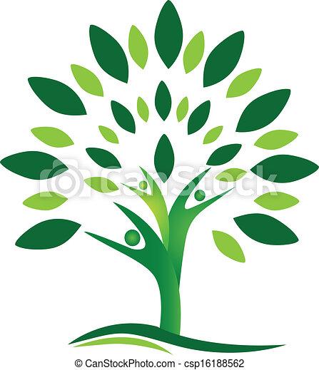 logotipo, vetorial, árvore, pessoas, trabalho equipe - csp16188562