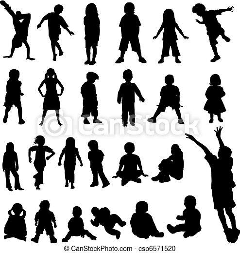 lotes, bebês, silhoue, crianças - csp6571520
