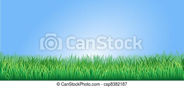 luxuriante, capim, verde, ilustração - csp8382187