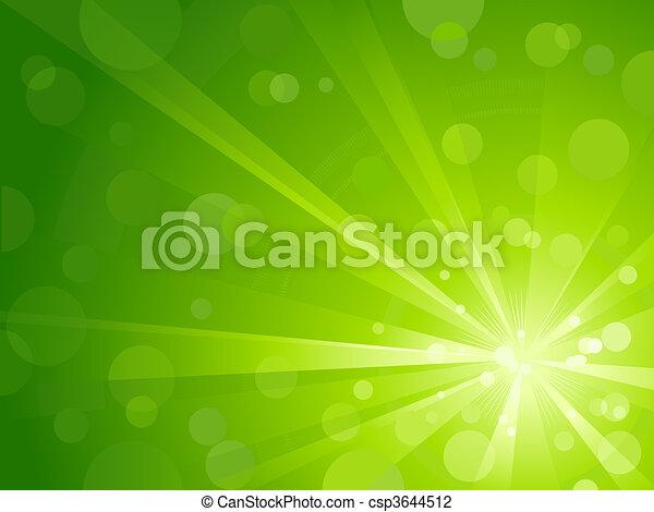 luz, brilhante, verde, estouro - csp3644512