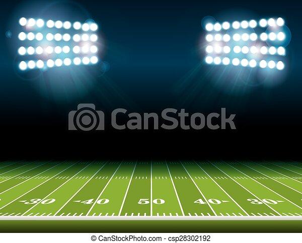 luzes, estádio americano futebol, campo - csp28302192